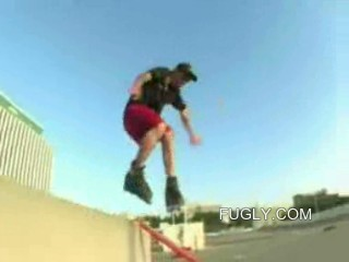 Inline Skater Smashes Nuts