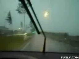 Lighting Hits Moving Car