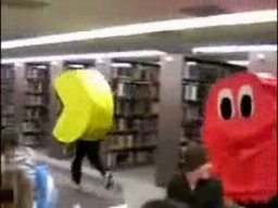 Live Pacman Running Around Library