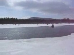 Snowmobile Over Water